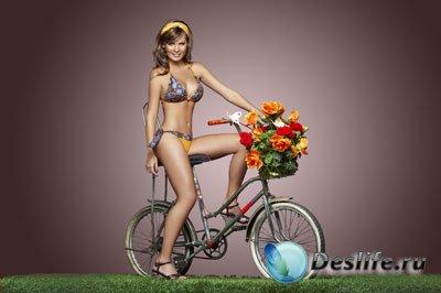 Женский костюм для фотошопа - Велосипедистка