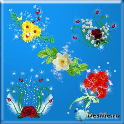 Клипарт для фотошопа - Цветочные композиции