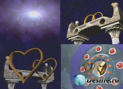 Футаж - 3D-космический фон с кольцами и сердцами для видеомонтажа