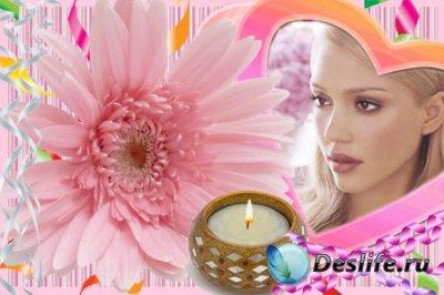 Рамка для фотошопа - Сердечки и свеча