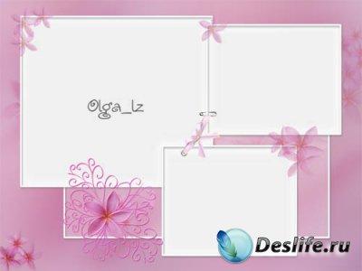 Рамка для фотошопа с розовыми цветами