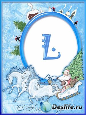 Новогодняя рамка для фотошопа - Дед Мороз на санях