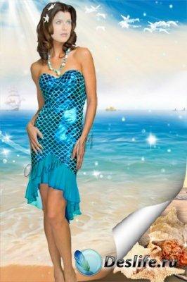 Женский костюм для фотошопа - На берегу моря