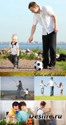 Stock Photo: Father with children