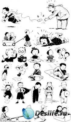 Черно-белый вектор - Дети
