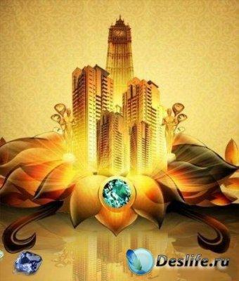 PSD исходник для фотошопа - Золотой город