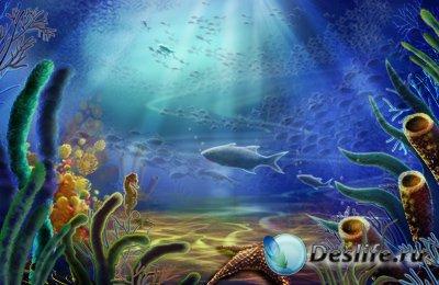 PSD исходник для фотошопа - Водный мир