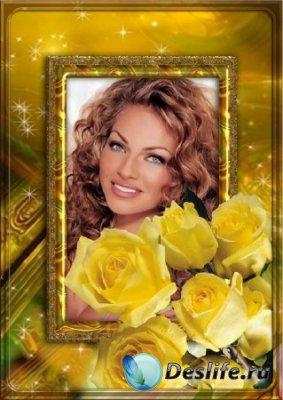 Рамка для фотошопа - Портрет с желтыми розами