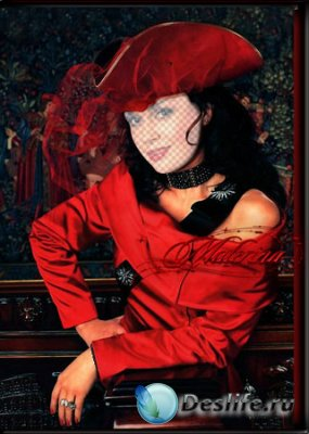 Женский костюм для фотошопа - Брюнетка в красном