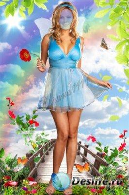 Женский костюм для фотошопа - Девушка с цветком