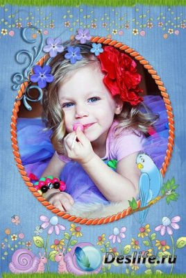 Рамка для Photoshop - Детская с попугайчиком