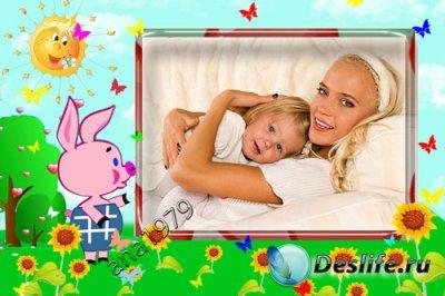 Детская рамка для фотошопа - Пятачок