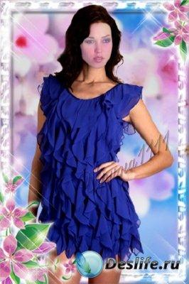 Женский костюм для фотошопа - Брюнетка в синем