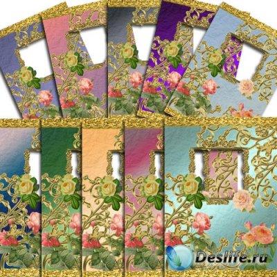 Набор красивых рамочек в формате PNG - Золото и розы