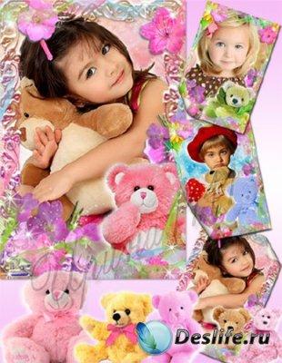 Детская рамка для фотошопа - Плюшевый мишка