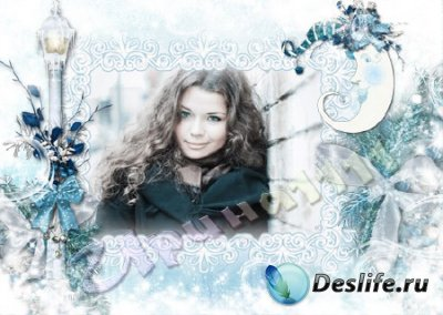 Рамка для фотошопа - Белоснежная зима
