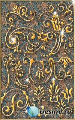 65 Золотых элемента цветочного декора