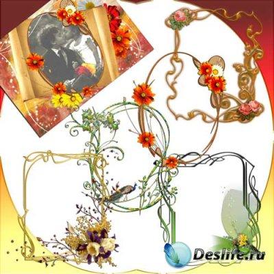 Набор вырезов для создания рамок в фотошоп - Цветочный