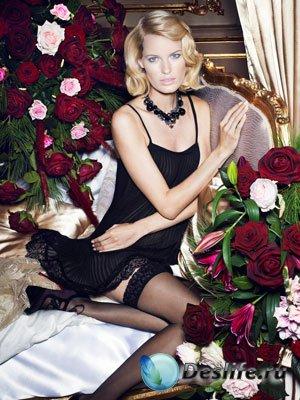 Женский костюм для фотошопа - Девушка и розы