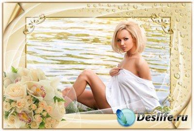 Романтическая рамка для фотошопа с букетом цветов