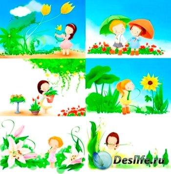 Фоны детские - Малыши с цветами