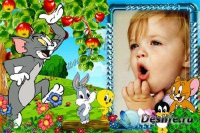Детская рамка для фотошопа - Том и Джерри на полянке