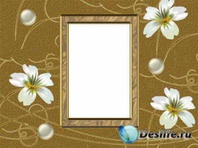 Рамка для фотошопа – Белые цветы