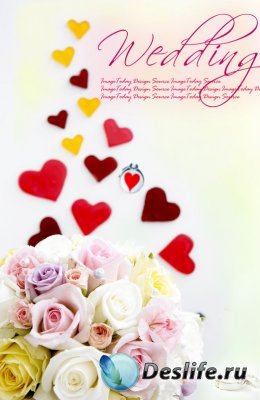 Розы и сердечки - Roses & Hearts - PSD Клипарт
