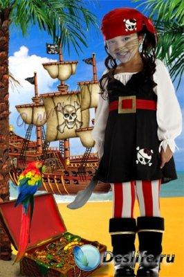 Детский костюм для фотошопа - Маленькая пиратка