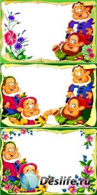 Детские рамки для фотомонтажа - С гномами