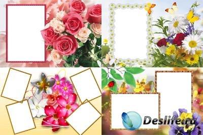 Набор цветочных рамочек для фотошопа 5