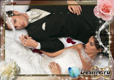 Свадебная рамка для фотошопа - Два кольца