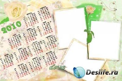 Календарь для фотошопа на 2010 год - Белые розы