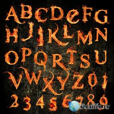 Клипарт для фотошопа - Английский огненный алфавит