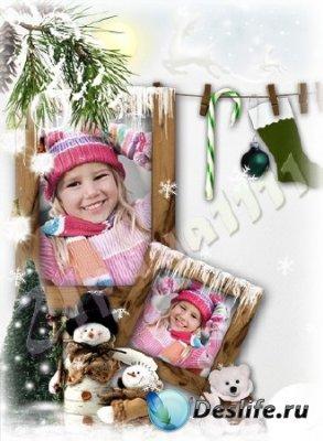 Рамка для фотошопа - Зимние забавы