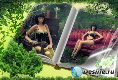 Рамка для фотошопа - Девушка в лесу