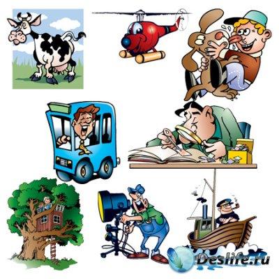 Векторный клипарт - Зодиак, авто, дети, животные