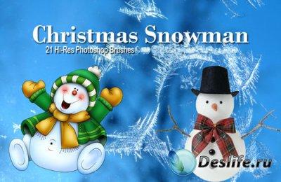 Кисти для фотошопа - Весёлые Снеговики