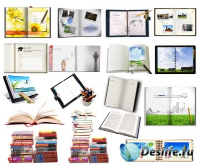 PSD клипарт - Книги и блокноты