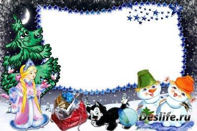 Рамка для фотошопа - Со Снегурочкой и котёнком