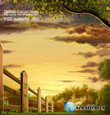 PSD исходник для фотошопа - Butterfly 2