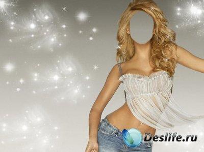 Женский костюм для фотошопа - Девушка в воздушном топике