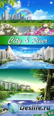 PSD исходники для фотошопа - City & River