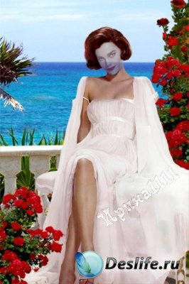 Женский костюм для фотошопа - На террасe