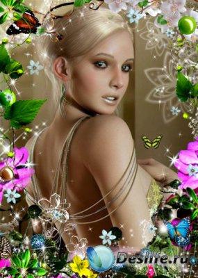 Рамка для фотошопа – Цветочная фантазия