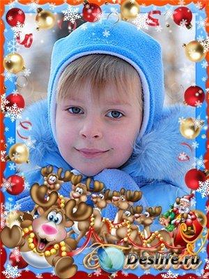 Рамки для фотошопа - Дед Мороз на санях