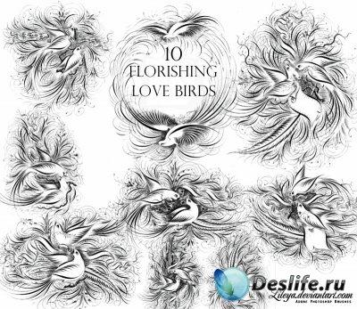 Кисти для Фотошопа - Flourishing Love Birds