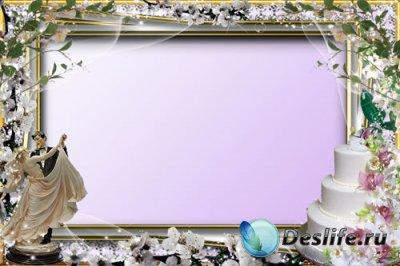 Свадебная рамка для фотошопа - Цветочная
