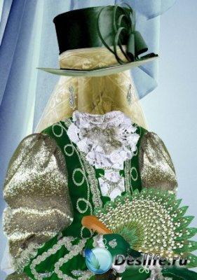 Костюм для фотошопа – Девочка в зеленом костюме
