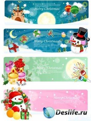 Рождественские баннеры в векторе (Christmas banners at vector)